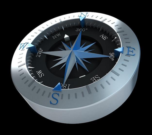 Renderowanie 3d kompasu w czarnej powierzchni