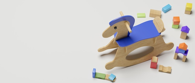 Renderowanie 3d, koń na biegunach, zabawki, rzeczy, zabawki i miejsce na kopię na białym tle, ilustracja 3d