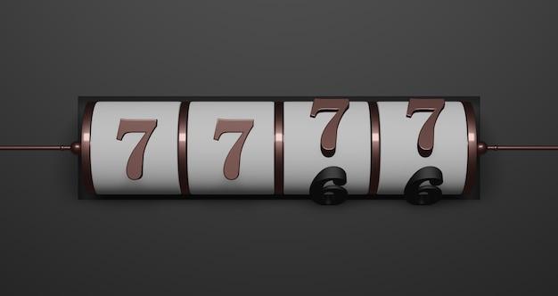 Renderowanie 3d. koncepcja automatów do gry. 7777, tło szczęśliwego numeru automatu casino vegas. wygraj pieniądze z jackpota. streszczenie minimalna koncepcja