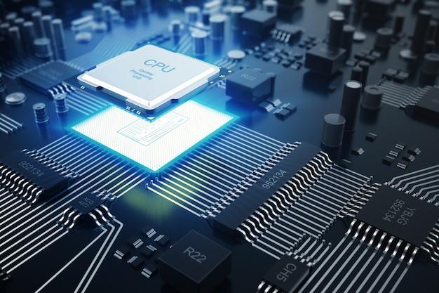 Renderowanie 3d koncepcja procesorów komputerowych centralnych cpu. inżynier elektronik technologii komputerowej. rdzeń procesora obwodu płyty komputera. koncepcja sprzętu półprzewodnikowe płyty głównej urządzenia elektronicznego