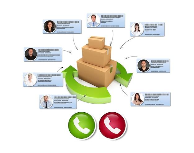 Renderowanie 3d koncepcji dostawy produktu wraz z wideokonferencją