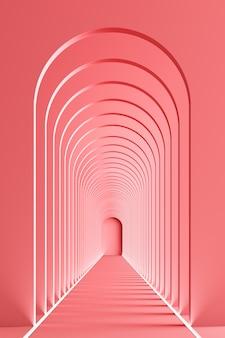 Renderowanie 3d korytarz rytmiczny korytarz z lampką led w różowym odcieniu