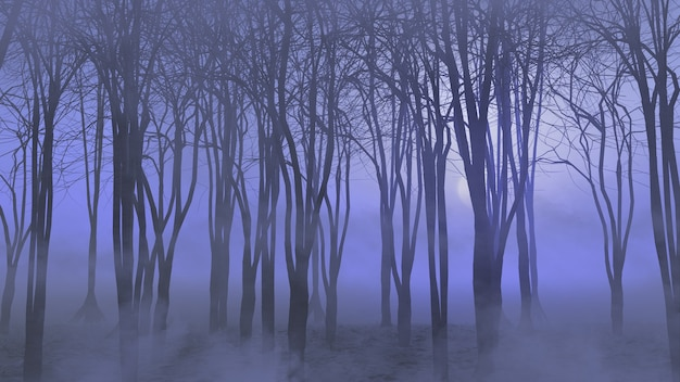 Renderowanie 3d krajobrazu halloween z mglistym lasem