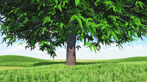 Renderowanie 3d krajobrazu z dużym drzewem na trawiastej łące