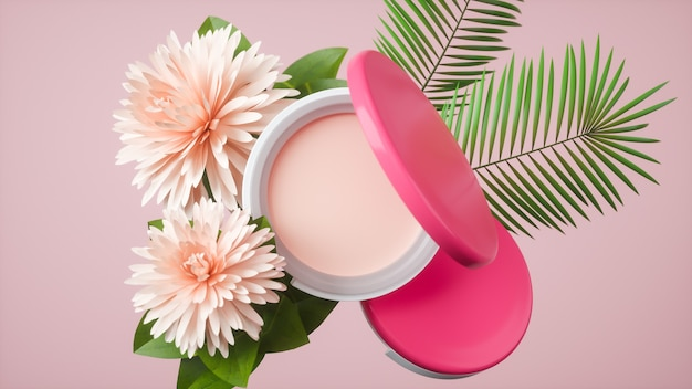 Renderowanie 3d kremów kosmetycznych i kwiatów do wyświetlania produktów