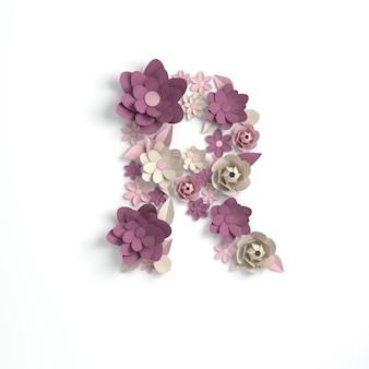 Renderowanie 3d kwiat papieru alfabet litery r