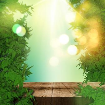 Renderowanie 3d liści i tła wyświetlacza drewniany stół