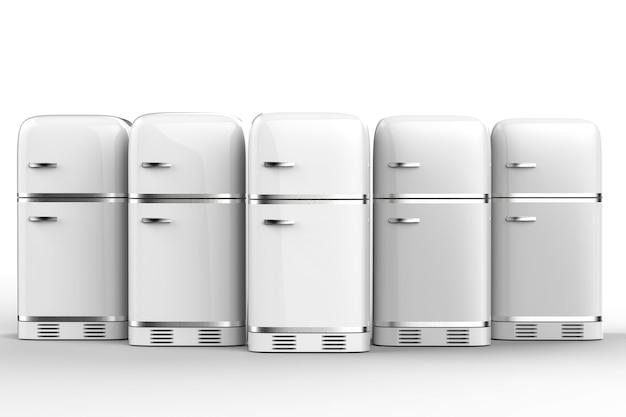 Renderowanie 3d lodówek w stylu retro z rzędu
