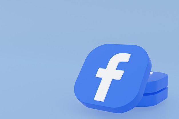 Renderowanie 3d logo aplikacji facebook na niebieskim tle