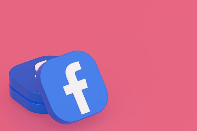 Renderowanie 3d logo aplikacji facebook na różowym tle