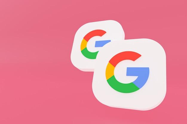 Renderowanie 3d logo aplikacji google na różowym tle