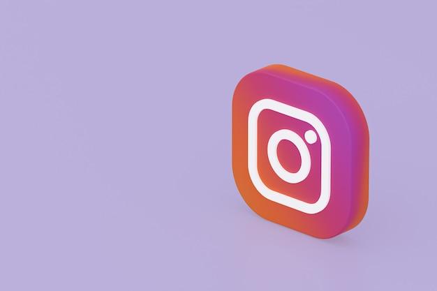 Renderowanie 3d logo aplikacji instagram na fioletowym tle