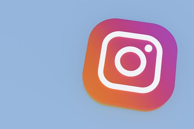 Renderowanie 3d logo aplikacji instagram na niebieskim tle