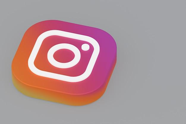 Renderowanie 3d logo aplikacji instagram na szarym tle