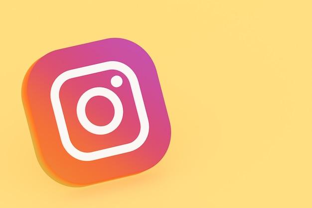 Renderowanie 3d logo aplikacji instagram na żółtym tle
