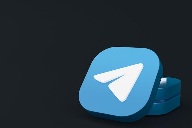 Renderowanie 3d logo aplikacji telegram na czarnym tle