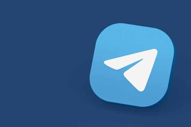 Renderowanie 3d logo aplikacji telegram na niebieskim tle