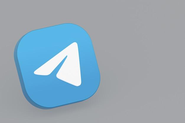 Renderowanie 3d logo aplikacji telegram na szarym tle