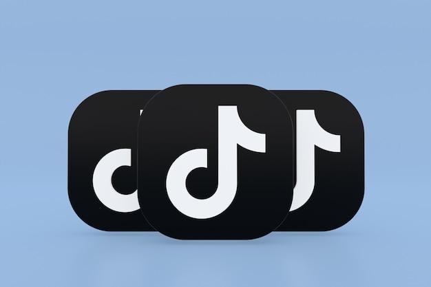 Renderowanie 3d logo aplikacji tiktok na niebieskim tle