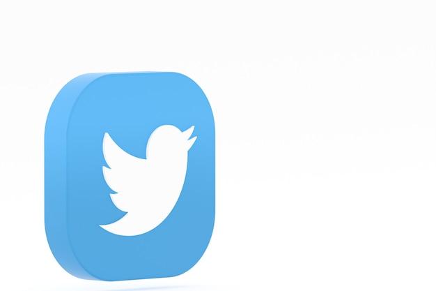 Renderowanie 3d logo aplikacji twitter na białym tle