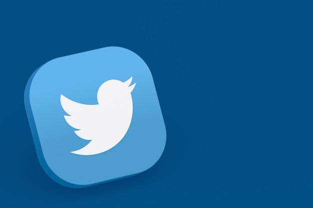Renderowanie 3d logo aplikacji twitter na niebieskim tle