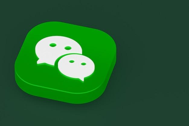 Renderowanie 3d logo aplikacji wechat na zielonym tle