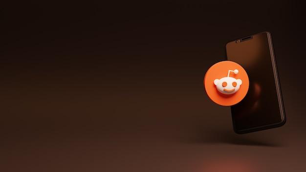 Renderowanie 3d logo reddit na smartfonie w reklamach na profilach społecznościowych