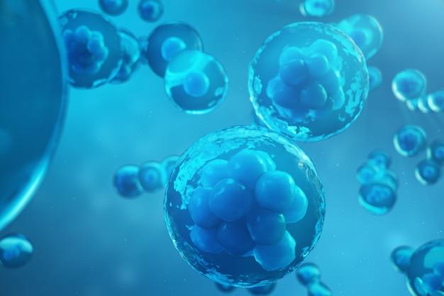 Renderowanie 3d ludzkich lub zwierzęcych komórek na niebieskim tle. koncepcja zarodek na wczesnym etapie koncepcja naukowa medycyny, badania i leczenie komórkami macierzystymi.