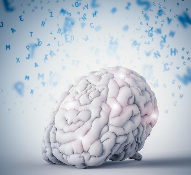Renderowanie 3d ludzkiego mózgu uczącego się na niebieskim tle