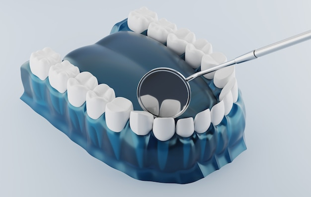 Renderowanie 3d lusterko dentystyczne i dentystyczne z przezroczystą gumą