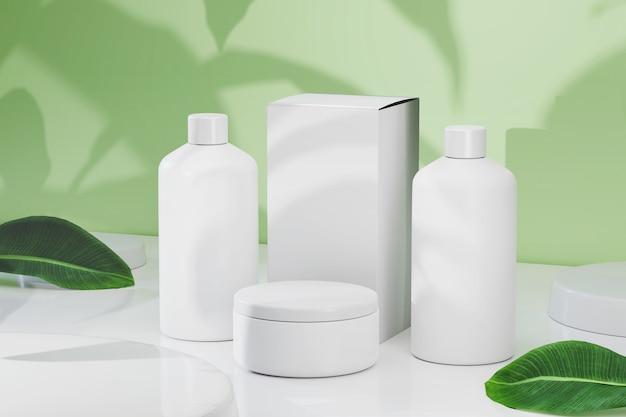 Renderowanie 3d makieta pojemnika kosmetycznego zestaw butelek kosmetycznych pakiet produktów kosmetycznych naturalna dekoracja
