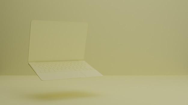 Renderowanie 3d makiety notebooka / laptopa / urządzenia. minimal studio. tło wewnętrzne dla strony docelowej