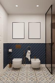 Renderowanie 3d. makiety obrazów w łazience ze ścianami wyłożonymi niebieskimi kafelkami.