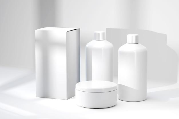 Renderowanie 3d makiety pojemników kosmetycznych zestaw butelek kosmetycznych pakiet produktów kosmetycznych