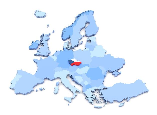 Renderowanie 3d mapy europy, czechy z flagą
