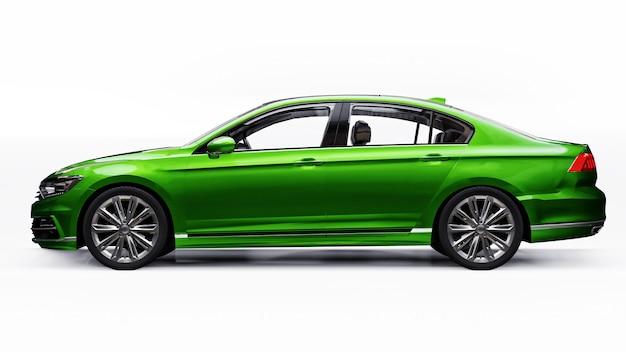 Renderowanie 3d markowego, ogólnego, zielonego samochodu w środowisku białego studia