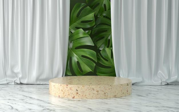 Renderowanie 3d marmuru podium i roślin.