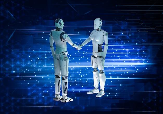 Renderowanie 3d męskiej i żeńskiej dłoni cyborga drżenie