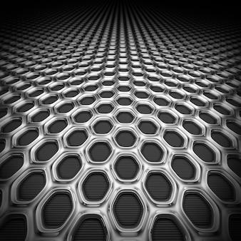 Renderowanie 3d metalowej siatki o strukturze plastra miodu. ilustracja sześciokątnej kraty stalowej