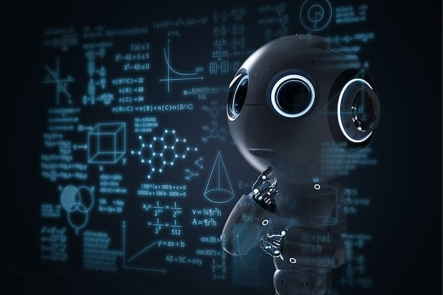 Renderowanie 3d mini robota uczącego się lub rozwiązującego problemy