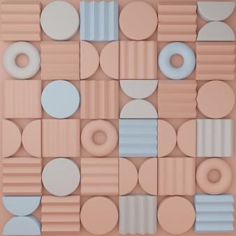 Renderowanie 3d minimalne abstrakcyjne bloki układanki lub puzzli tło lub wzór wyświetlania produktu