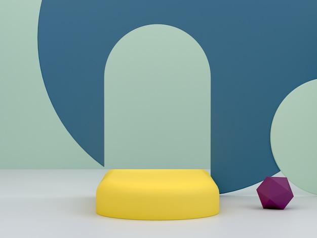 Renderowanie 3d. minimalne podium do pokazania produktu. pusta scena z łukami i formami geometrycznymi. scena w pełnym kolorze.