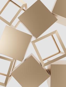 Renderowanie 3d minimalne złote bloki na tle widoku z góry podświetlanego pudełka dla produktów kosmetycznych i do pielęgnacji skóry