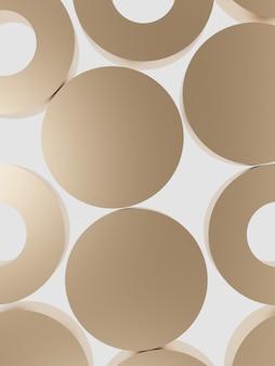 Renderowanie 3d minimalne złote okrągłe bloki na jasnym tle widoku z góry dla urody i pielęgnacji skóry