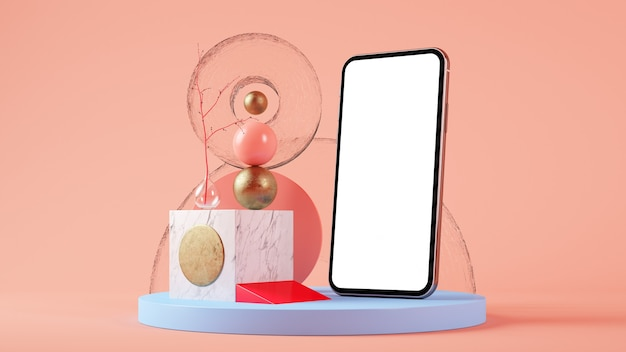 Renderowanie 3d mobilnego ekranu makieta