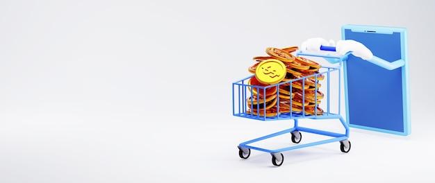 Renderowanie 3d mobilnych zakupów i złotych monet. zakupy online i e-commerce w sieci koncepcja biznesowa. bezpieczna transakcja płatności online za pomocą smartfona.