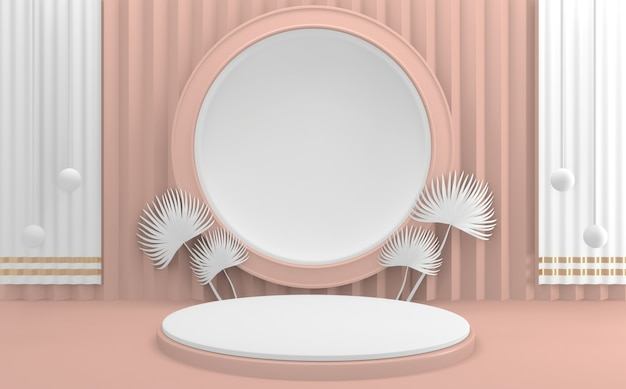 Renderowanie 3d .mock up valentine różowy podium minimalny projekt sceny produktu
