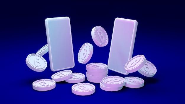 Renderowanie 3d monet b jako odniesienie do łańcucha bloków z telefonami na zdecentralizowanej koncepcji w tle