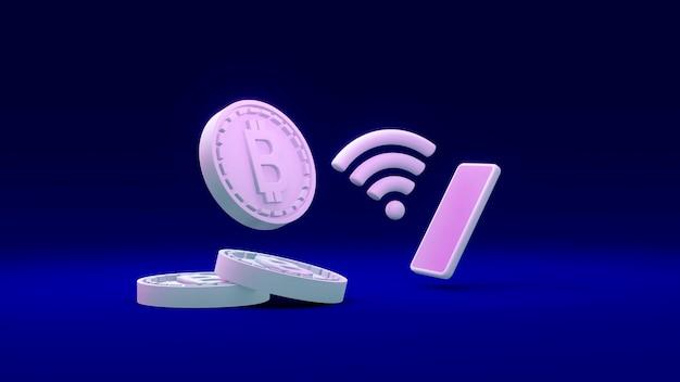 Renderowanie 3d monet b w odniesieniu do bitcoina za pomocą telefonu i symbolu wi-fi w internecie