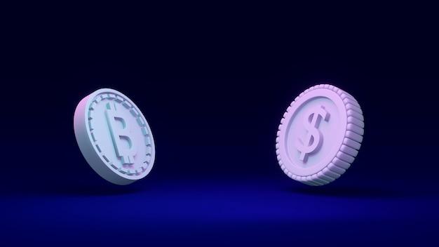Renderowanie 3d moneta b jako odniesienie do blockchain i monety dolara na koncepcji porównania tła